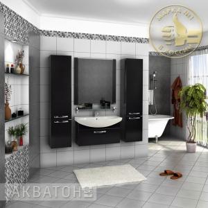 Комплект мебели Акватон Ария 80 чёрный глянец
