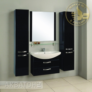 Комплект мебели Акватон Ария 80 M чёрный глянец