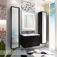 Комплект мебели Акватон Римини 80 чёрный глянец