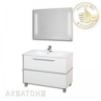 Комплект мебели Акватон Турин 100 белый с серебристым