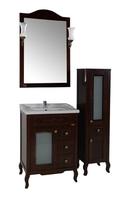 Комплект мебели для ванной комнаты ASB Woodline Флоренция квадро 60 витраж орех  (Массив ясеня)
