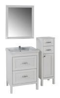 Комплект мебели для ванной комнаты ASB Woodline Римини Nuovo-60 белый патина (Массив ясеня)