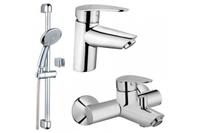 Комплект смеситель Dynamic S для раковины c донным клапаном, смеситель и для ванной / душа и набор для душа – штанга и ручной душ 3-х режимный A49152EXP