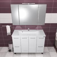 Комплект мебели СаНта Тумба Омега 120 + Зеркало Стандарт 120, со светом