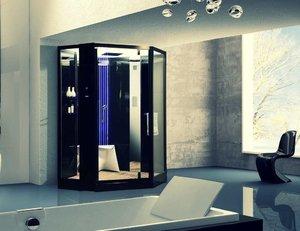 Душевая угловая кабина с ванной ORANS OLS-SR89106S BLACK