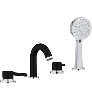 Смеситель в ванную Webert Elio EL850701564 Черный матовый / Хром