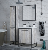 Комплект мебели для ванной комнаты COROZO Айрон 60 черный/антик