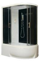 Душевая кабина асимметричная BAS Фиджи-Есо черная (левая/правая)