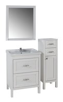 Комплект мебели ASB Woodline Римини Nuovo-80 белый патина (Массив ясеня)