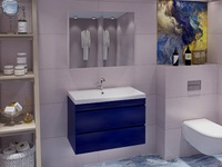 Комплект мебели для ванной комнаты Stella Polar подвесная Памелла 60 2 ящика синяя