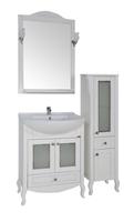 Комплект мебели для ванной комнаты ASB Woodline Флоренция-65 Витраж белый  (Массив ясеня)