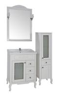 Комплект мебели для ванной комнаты ASB Woodline Флоренция квадро 60 витраж белый  (Массив ясеня)