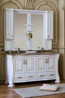 Комплект мебели Аллигатор Classic 160A с двумя раковинами, зеркало на столешнице (цвет - белый с патиной)