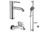Комплект смеситель Minimax для раковины c донным клапаном, смеситель и для ванной / душа и набор для душа – штанга и ручной душ 5-и режимный A49153EXP