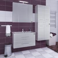 Комплект мебели СаНта Тумба Омега 90, подвесная, люкс + Зеркало Стандарт 90, со светом