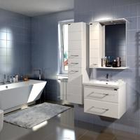 Комплект мебели для ванной комнаты СаНта Тумба Омега 60, подвесная + Зеркало Омега 60