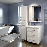 Комплект мебели для ванной комнаты СаНта Тумба Омега 60, 3 ящика + Зеркало Омега 60