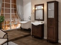 Комплект мебели для ванной комнаты DiHome Сильвия 65 орех темный из массива ясеня